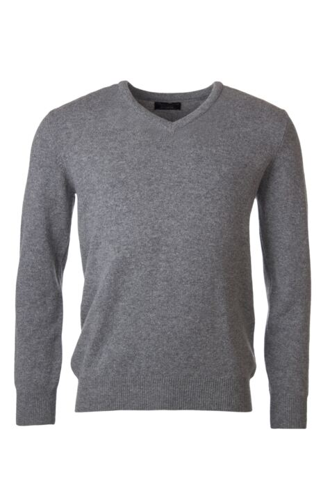 Mens Great & British Knitwear 100% Lambswool Plain V Neck Jumper Blacks and Greys Product Image