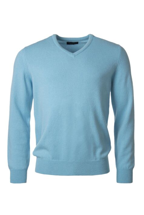 Mens Great & British Knitwear 100% Lambswool Plain V Neck Jumper Blue Shades Product Image