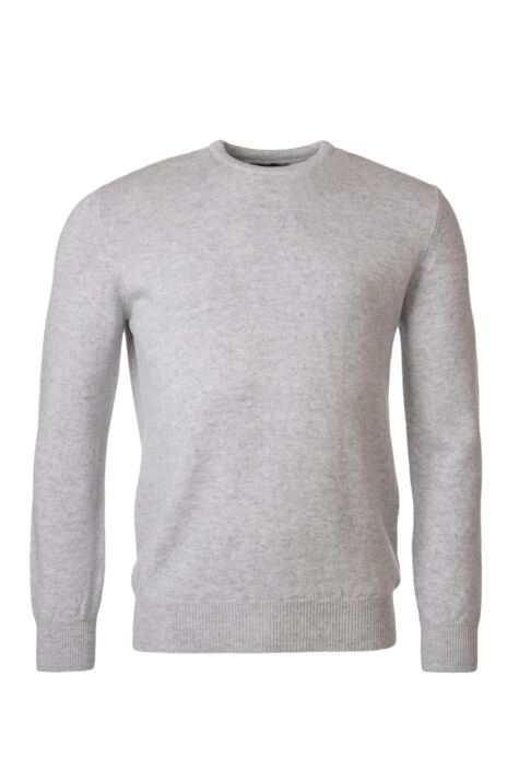 Mens Great & British Knitwear 100% Lambswool Plain Crew Neck Jumper Blacks and Greys Product Image