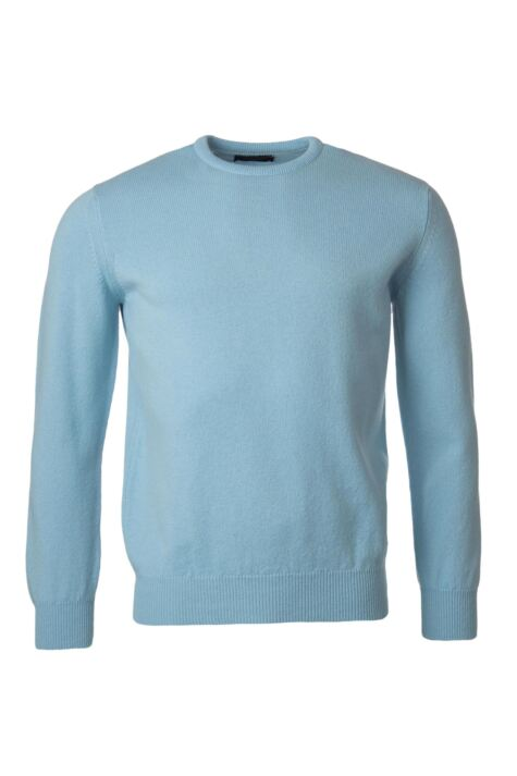Mens Great & British Knitwear 100% Lambswool Plain Crew Neck Jumper Blue Shades Product Image