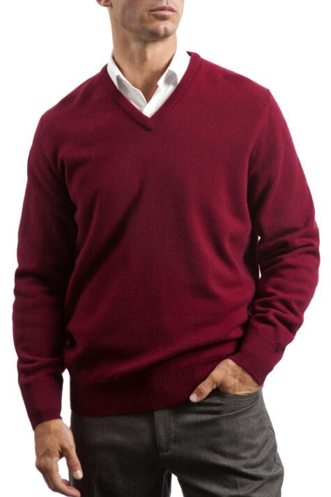 Mens Great & British Knitwear 100% Lambswool Plain V Neck Jumper Reds Orange and Yellow Product Image