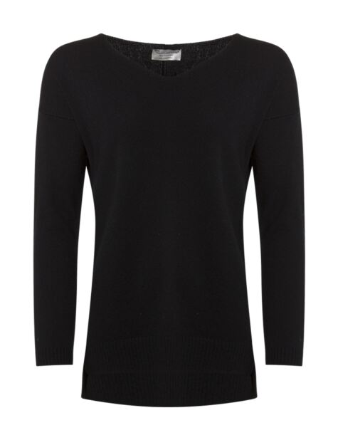 Ladies Great & British Knitwear 100% Lambswool V Neck Boyfriend Tunic Product Image