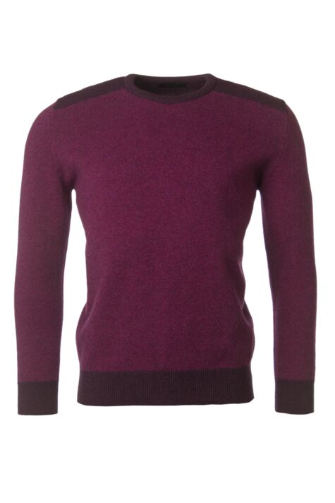 Mens Great & British Knitwear 100% Lambswool Birdseye Crew Neck Jumper Product Image