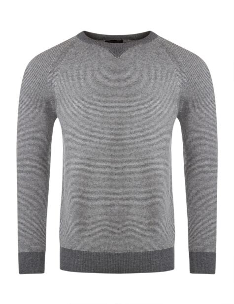 Mens Great & British Knitwear 100% Lambswool Crew Neck Striped Jumper with Neck Detail Product Image