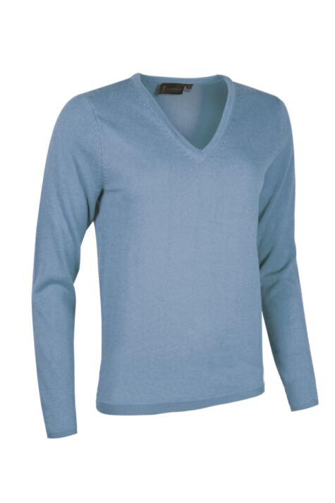 Ladies Great & British Knitwear Made In Scotland 100% Cashmere V Neck Blues Product Image