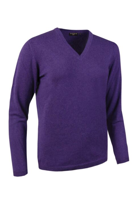 Ladies Great & British Knitwear Made In Scotland 100% Cashmere V Neck Purples and Pinks Product Image