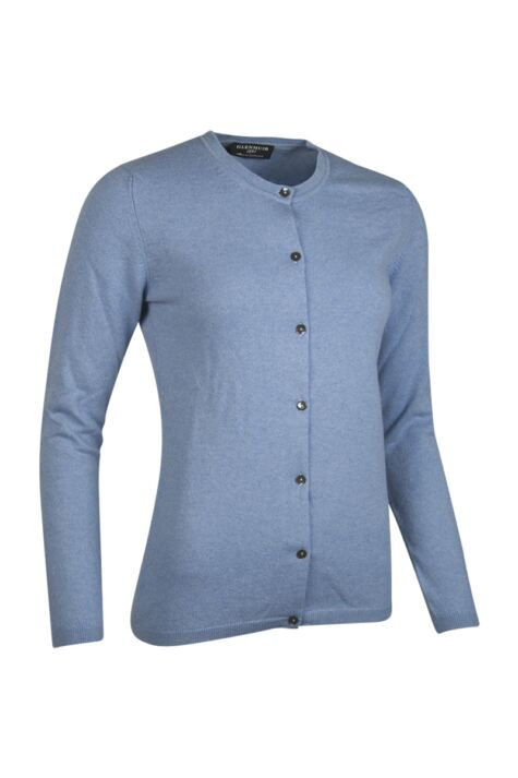 Ladies Great & British Knitwear Made In Scotland 100% Cashmere Golfer Cardigan Blues and Greys Product Image
