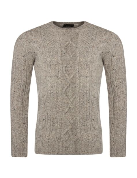 Mens Great & British Knitwear 100% British Wool Arran Cable Slimfit Crew Neck Jumper Product Image