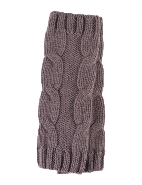 Ladies Great and British Knitwear 100% Cashmere Cable Knit Fingerless Gloves. Made In Scotland Product Image