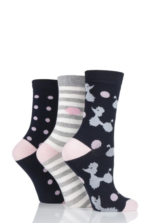 Ladies 3 Pair Lulu Guinness Poodles Stripes and Dots Cotton Socks Product Image