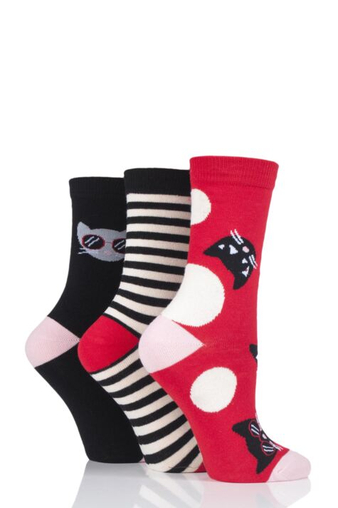 Ladies 3 Pair Lulu Guinness Cats Cotton Socks Product Image