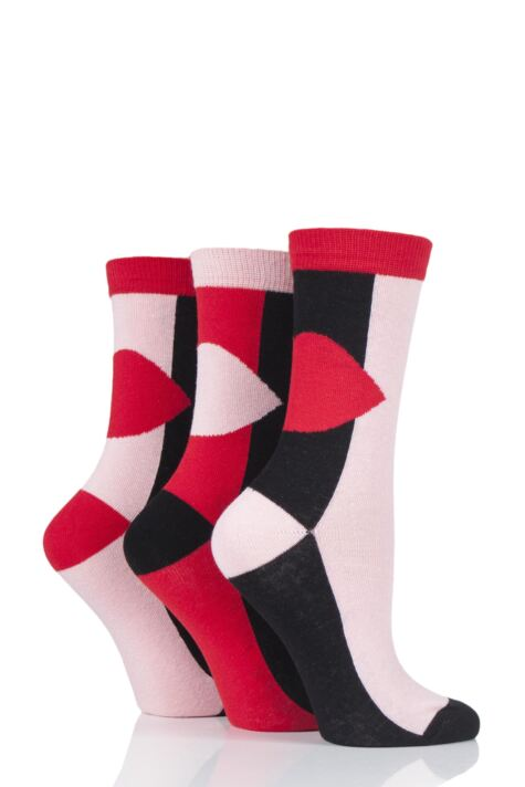 Ladies 3 Pair Lulu Guinness Large Lips Cotton Socks Product Image