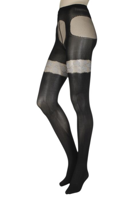 Ladies 1 Pair Trasparenze Aleppo Mock Hold Up Tights Product Image