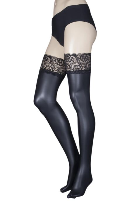 Ladies 1 Pair Trasperenze Allen Leather Look Lace Top Hold Ups Product Image