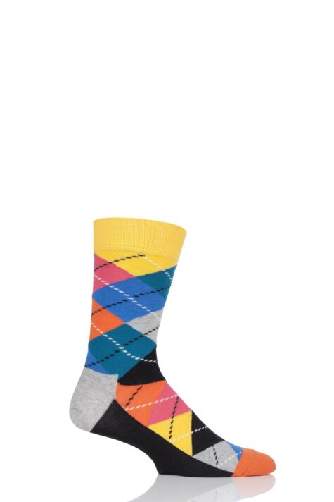 Mens and Ladies 1 Pair Happy Socks Argyle Combed Cotton Socks Product Image