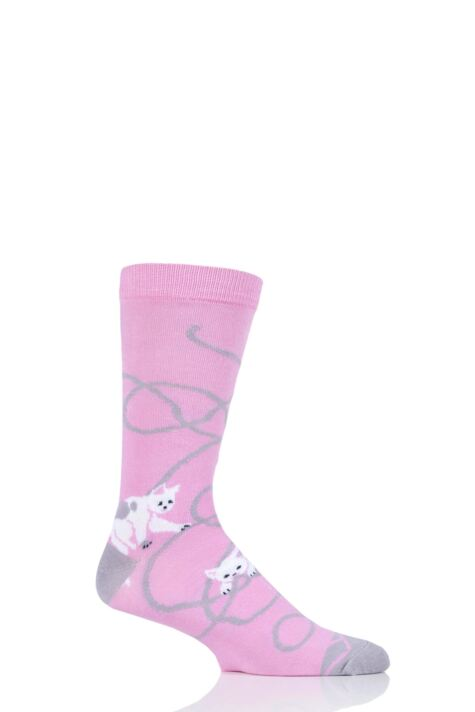 Mens and Ladies 1 Pair Shared Earth Fair Trade Bamboo Kittens Playing Socks Product Image