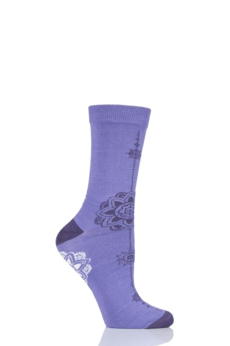 Ladies 1 Pair Shared Earth Mandala Fair Trade Bamboo Socks Product Image