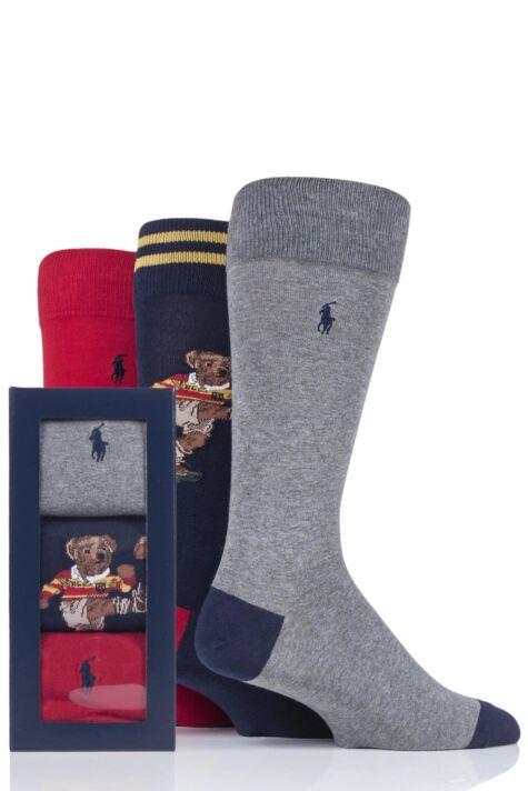 Mens 3 Pair Ralph Lauren Rugby Bear and Plain Combed Cotton Gift Boxed Socks Product Image