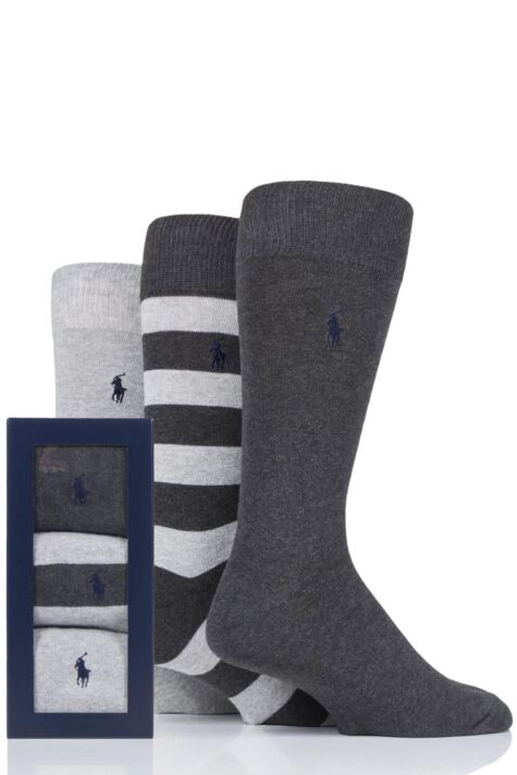 Mens 3 Pair Ralph Lauren Rugby Stripe and Plain Cotton Gift Boxed Socks Product Image