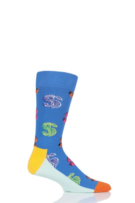 Mens and Ladies 1 Pair Happy Socks Andy Warhol Dollar Sign Socks Product Image