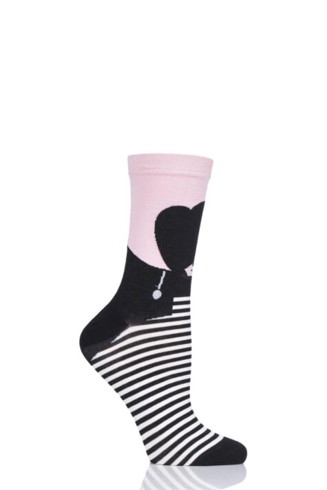 Ladies 1 Pair LuLu Guinness Heart Face Bamboo/Cotton Socks Product Image
