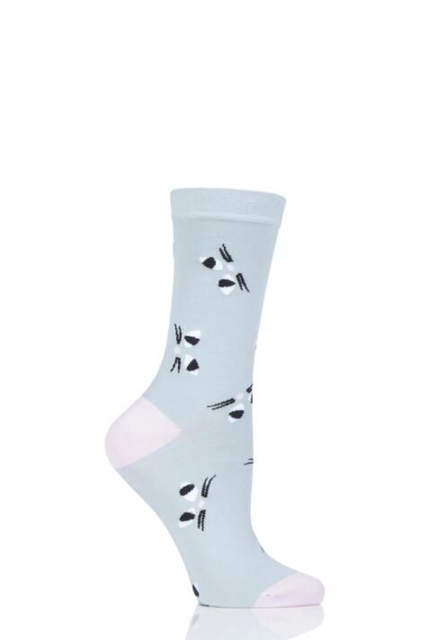 Ladies 1 Pair Lulu Guinness Cats Eyes Blue Bamboo Socks Product Image