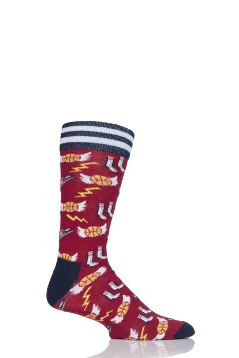 Mens 1 Pair Moustard Basketball Cotton Socks Product Image