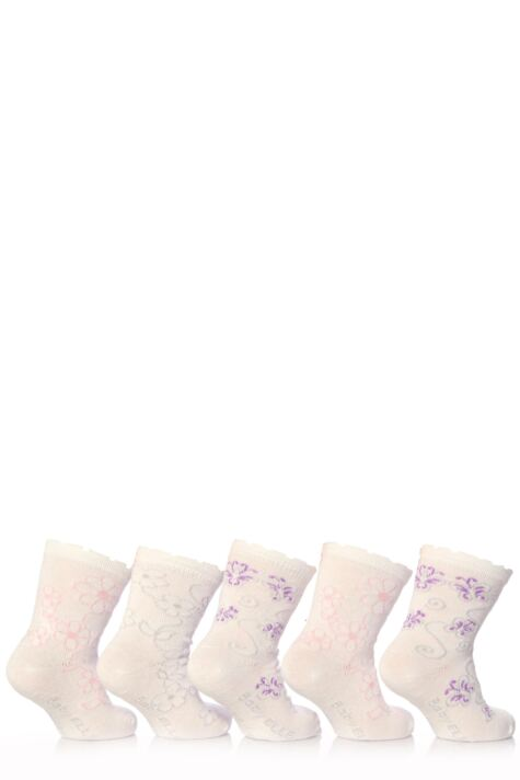 Girls 5 Pair Baby Elle White Flower Socks Product Image