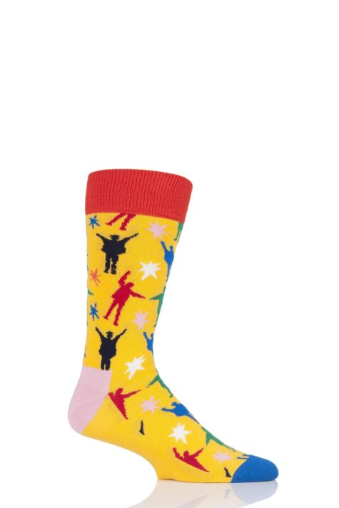 Mens and Ladies 1 Pair Happy Socks The Beatles Multi 2019 Cotton Socks Product Image