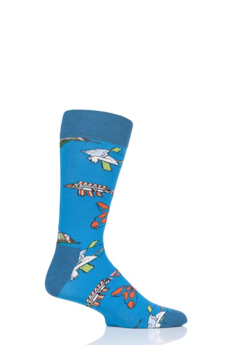 Happy Socks 1 Pair Beatles 50th Anniversary Yellow Submarine Fish & Whales  Cotton Socks Product Image