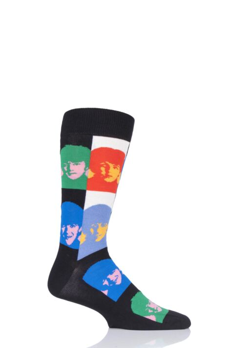 Mens and Ladies 1 Pair Happy Socks The Beatles Check Faces 2019 Cotton Socks Product Image