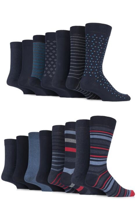 Mens 15 Pair Sockshop Plain, Striped & Patterned Eco-Friendly Cotton Socks Product Image