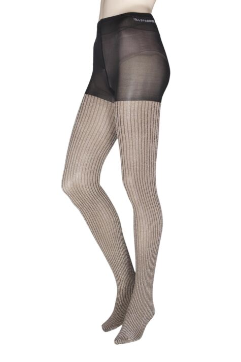 Ladies 1 Pair Trasparenze Bonarda Ribbed Glitter Shine Opaque Tights Product Image