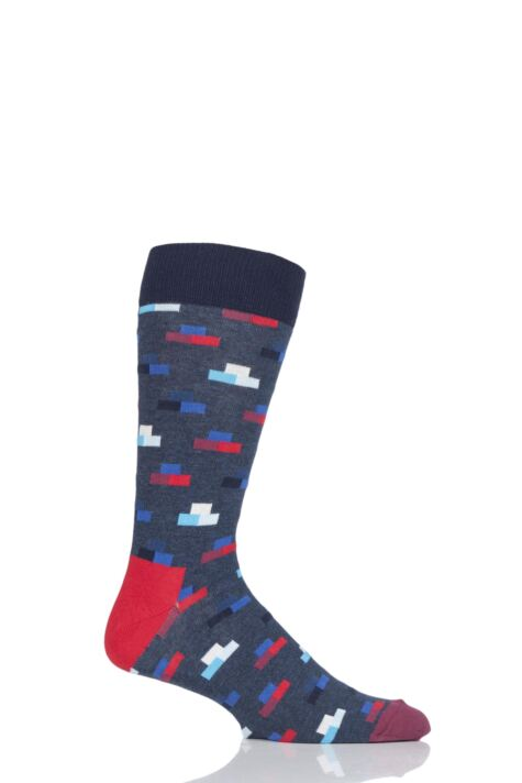Mens and Ladies 1 Pair Happy Socks Bricks Combed Cotton Socks Product Image