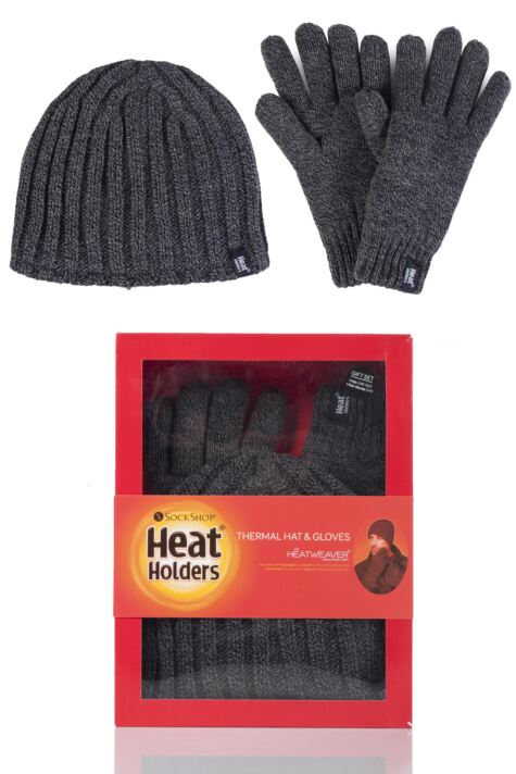 Mens 2 Pack Heat Holders Gift Boxed Hat and Gloves Set Product Image