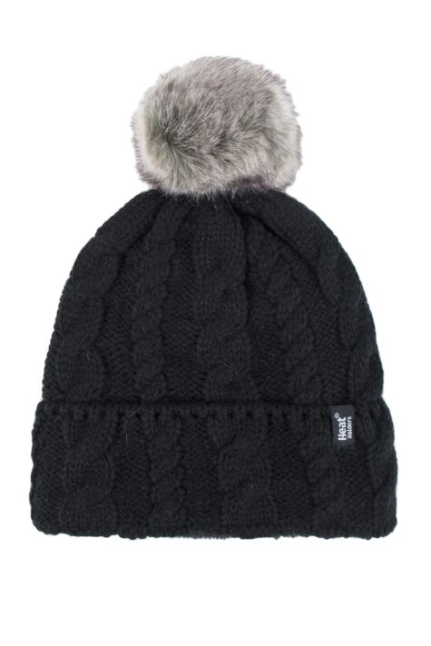 Ladies 1 Pack Heat Holders Heat Weaver Cable Knit Pom Pom Hat Product Image
