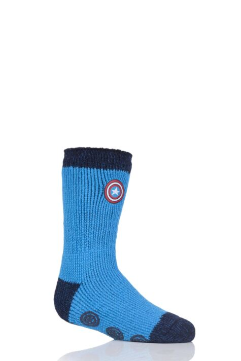 Kids 1 Pair SockShop Heat Holders Marvel's Captain America Shield Slipper Socks Product Image