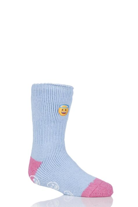 Kids 1 Pair SockShop Heat Holders Emoji Angel Face Slipper Socks Product Image