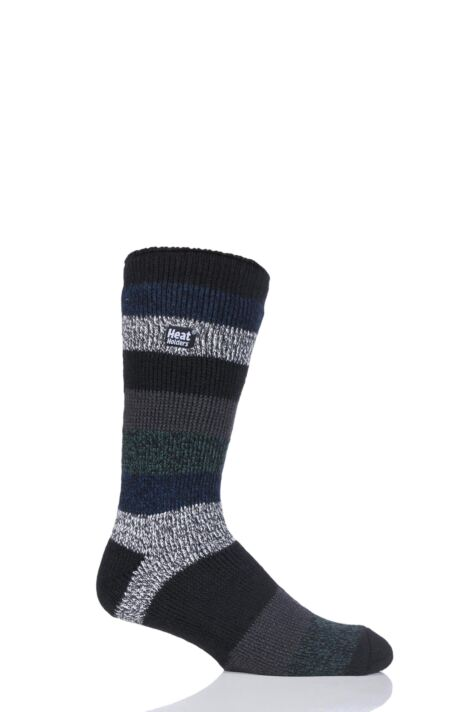 Mens 1 Pair SockShop Heat Holders Block Twisted Stripe Socks Product Image