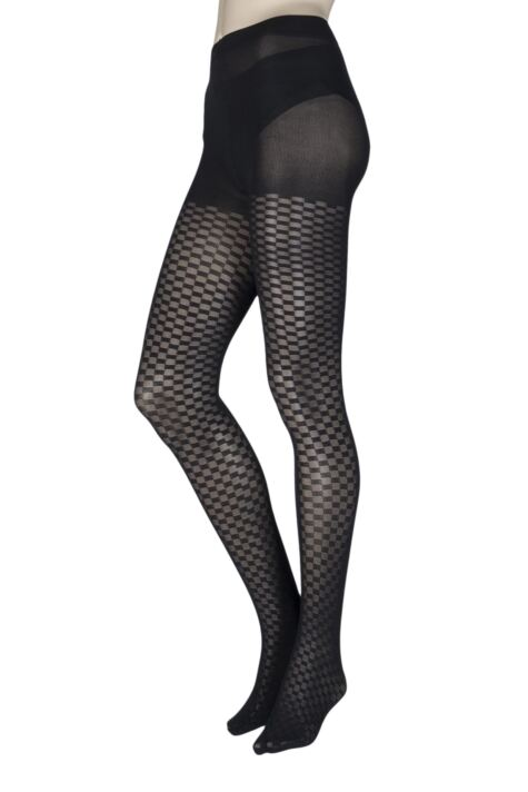 Ladies 1 Pair Charnos Chequered Square Opaque Tights Product Image