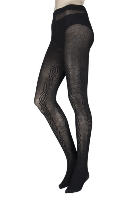 Ladies 1 Pair Charnos Chunky Cotton Cable Knit Tights Product Image