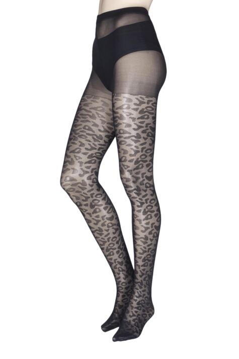 Ladies 1 Pair Charnos Fashion Leopard Print Tights Product Image