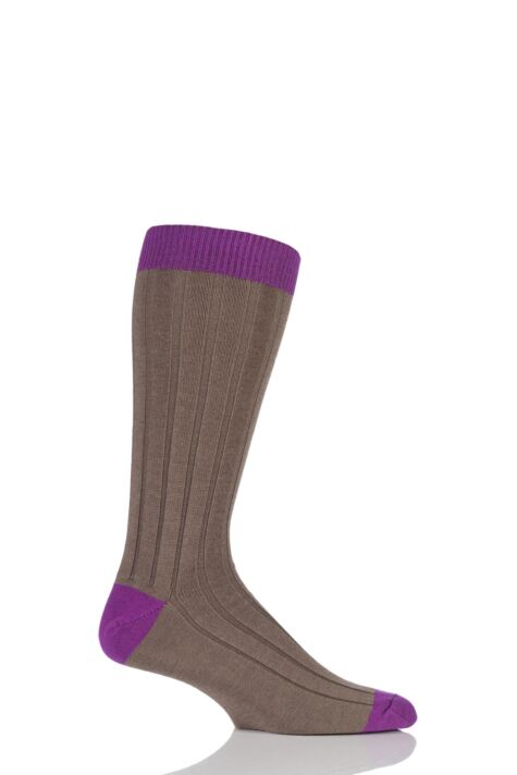 Mens 1 Pair SockShop of London 85% Cashmere Contrast Top Heel and Toe Ribbed Long Calf Socks Product Image