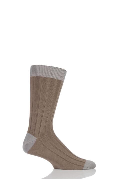Mens 1 Pair SOCKSHOP of London 85% Cashmere Contrast Top Heel and Toe Ribbed Socks Product Image