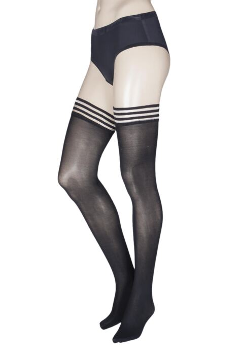 Ladies 1 Pair Charnos Fashion Glitter Backseam Sparkle Hold Ups Product Image
