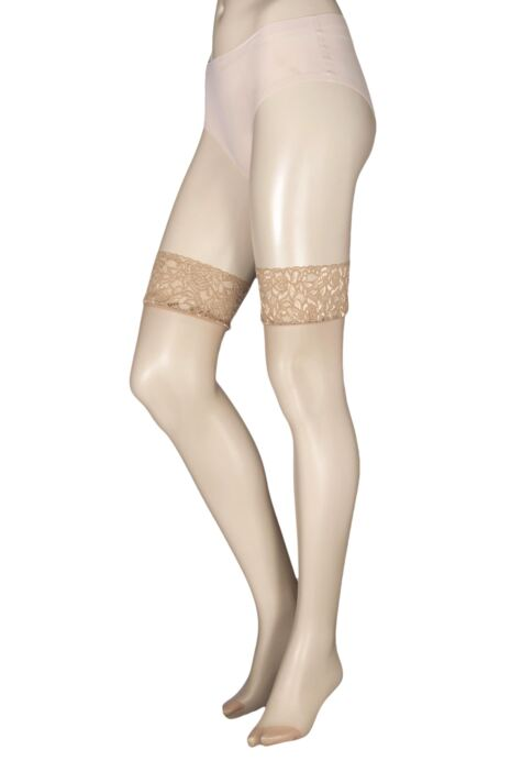 Ladies 1 Pair Charnos 10 Denier Run Resist Lace Top Stockings Product Image