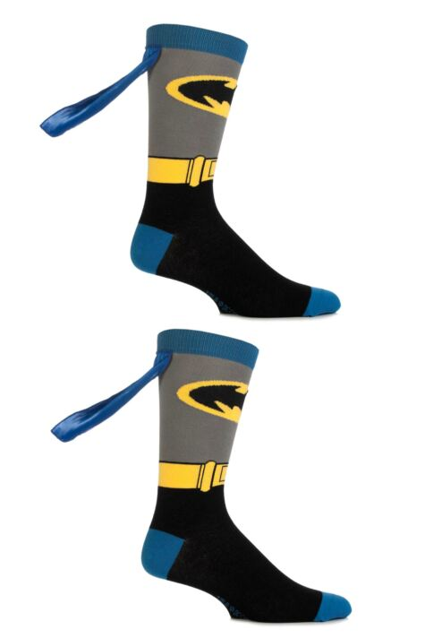 Mens 2 Pair SockShop DC Comics Superman and Batman Cape Socks Product Image