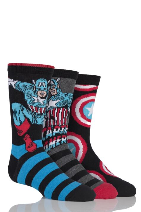 Kids 3 Pair SockShop Marvel Captain America Mix Cotton Socks Product Image