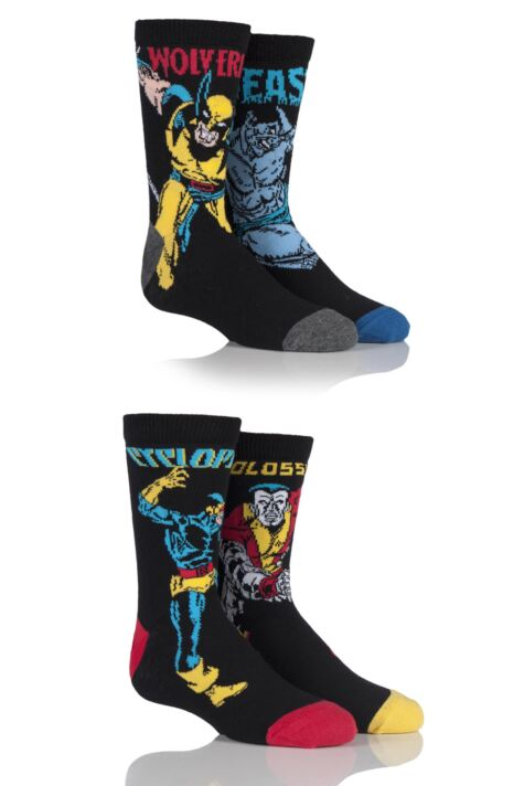 Kids 4 Pair SockShop Marvel X-Men Wolverine, Beast, Cyclops and Colossus Cotton Socks Product Image