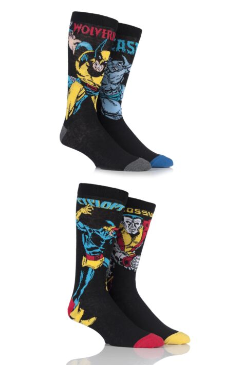 Mens 4 Pair SOCKSHOP Marvel X-Men Wolverine, Beast, Cyclops and Colossus Cotton Socks Product Image